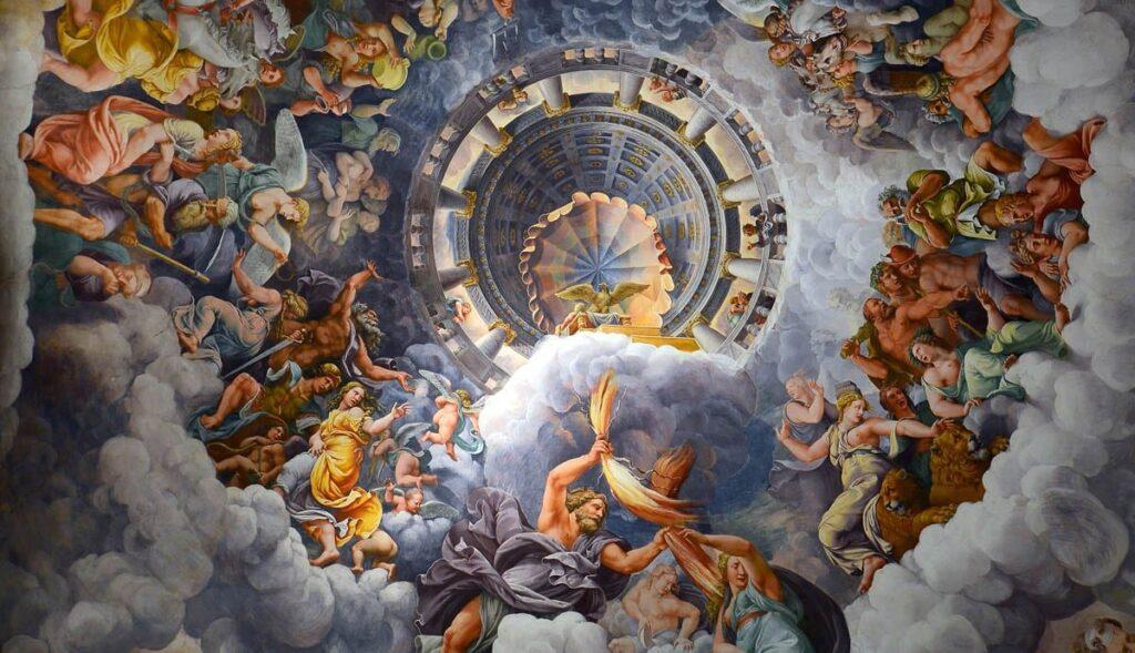 """Джулио Романо, """"Боги Олимпа"""". Фреска, свод Зала Гигантов в палаццо дель Те (Мантуя).1532-1535"""
