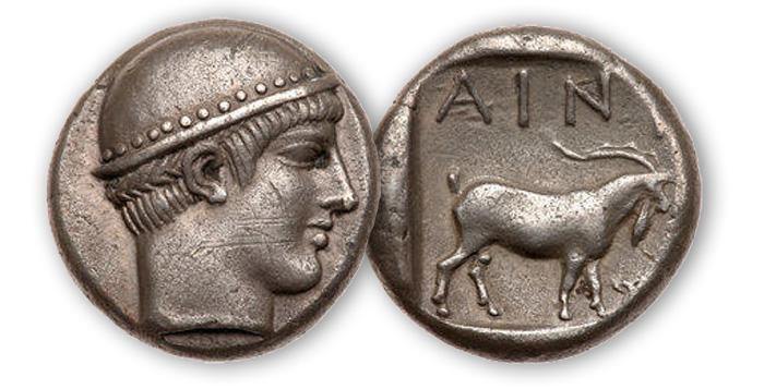 Изображение Гермеса на серебряной тетрадрахме. Фракия, Айнос, ок. 450 до н.э.