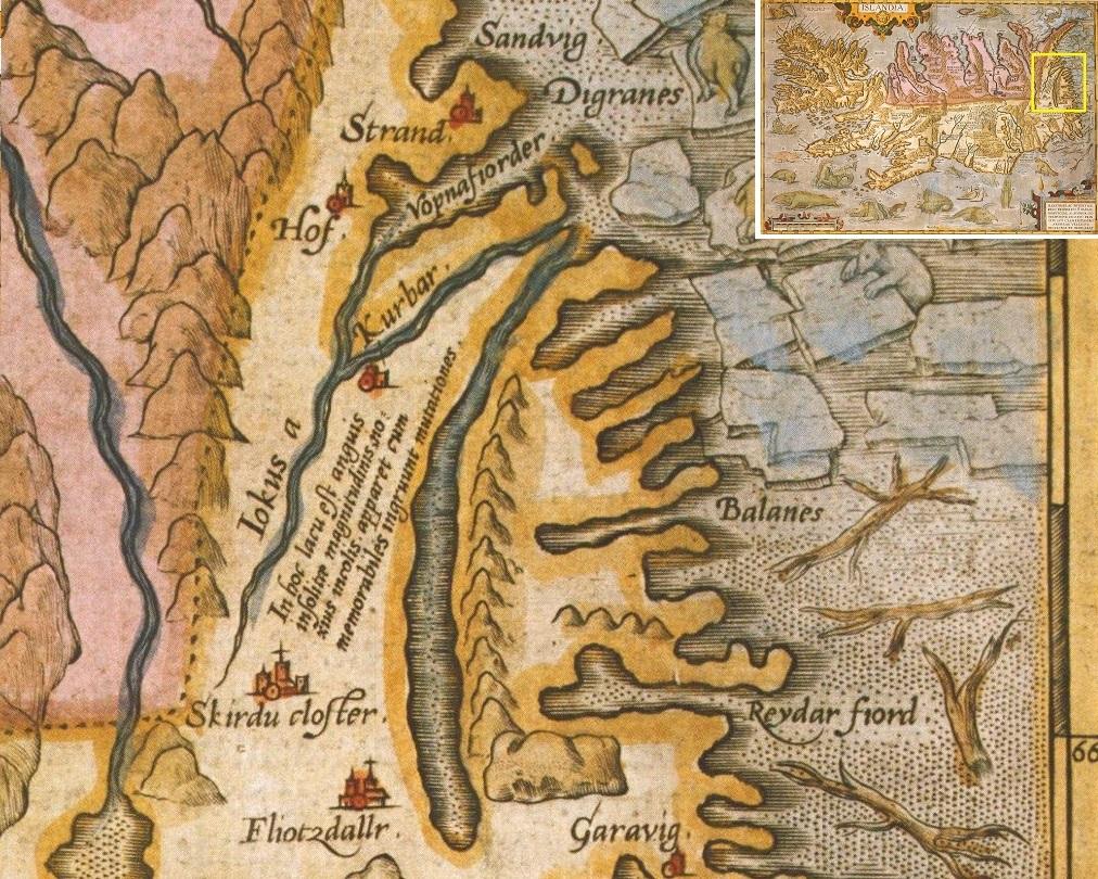 """Абрахам Ортелиус, Карта Исландии, 1585. Латинская надпись близ озера Лагарфльоут гласит: """"В этом озере водится змей необыкновенной величины"""""""