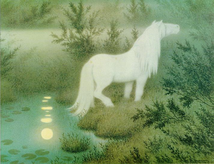 """Теодор Киттельсен, """"Нёкк в обличье водяной лошади"""", 1909"""