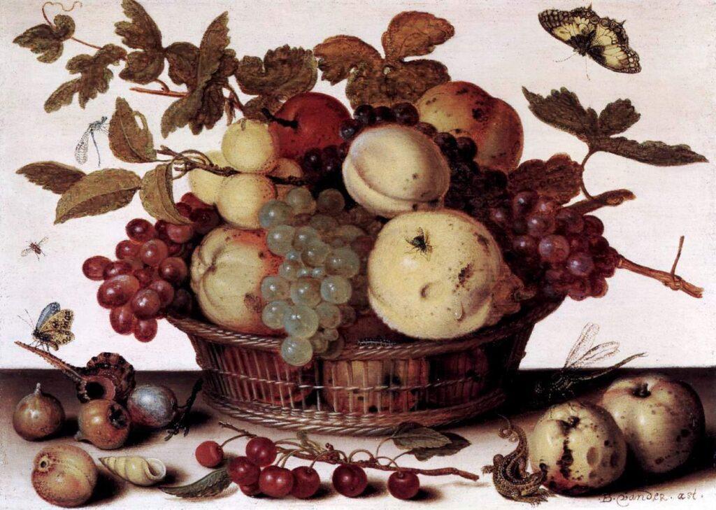 """Балтазар ван дер Аст, """"Корзина фруктов"""". Дерево, масло, 1625"""