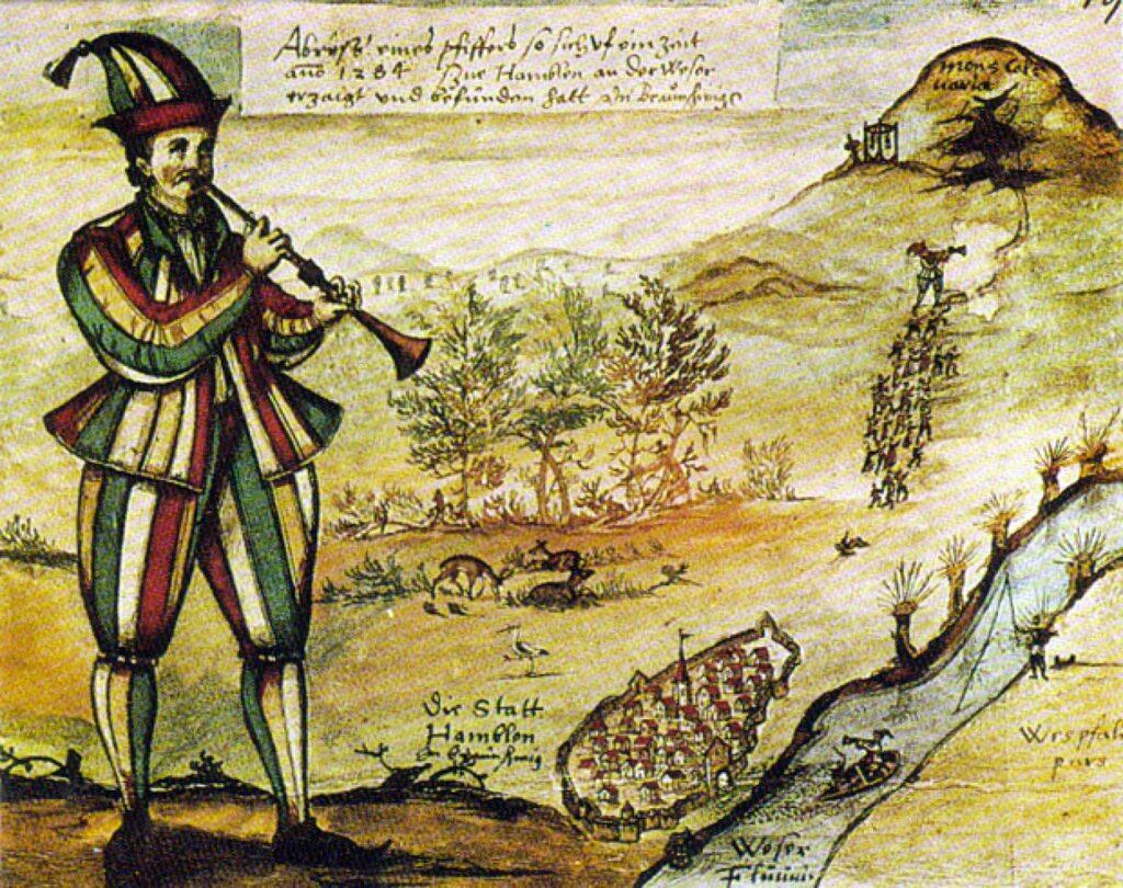 Августин фон Мерсперг, «Пестрый дудочник» (1592, зарисовка витража церкви на рыночной площади Гаммельна)