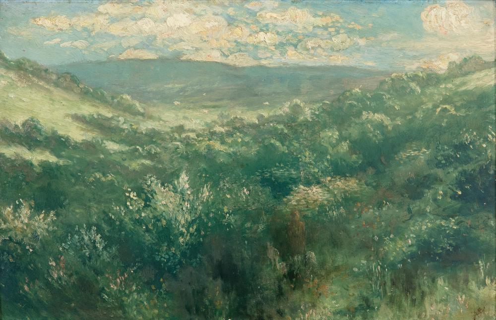 """Джордж Уильям Рассел (АЕ), """"Широкий пейзаж с эфирной фигурой"""""""
