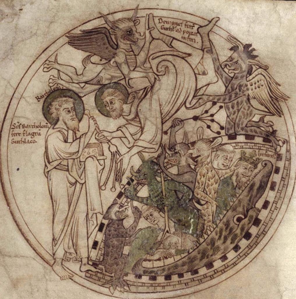 """Полчища демонов терзают святого Гутлака. """"Свиток Гутлака"""", 1210"""