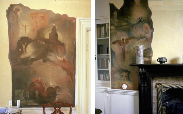 """Фрески работы АЕ, сохранившиеся под штукатуркой в комнатах теософского """"Дома"""" на Аппер-Или-плейс"""