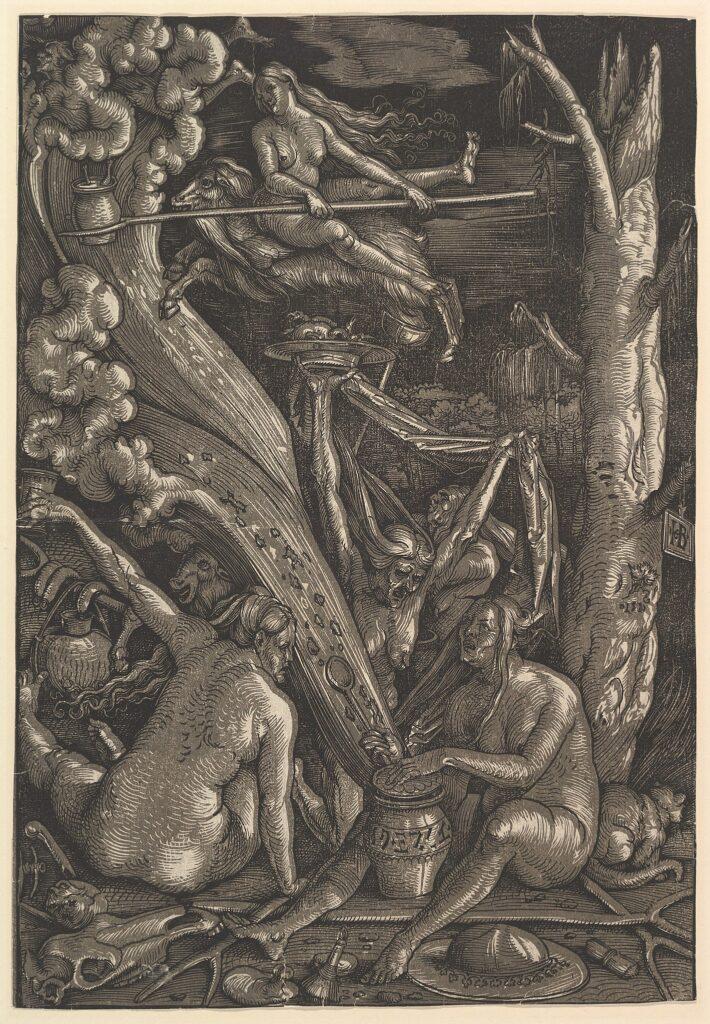 """Ганс Бальдунг Грин, """"Ведьмы готовятся к отбытию на шабаш"""". Гравюра, 1510"""