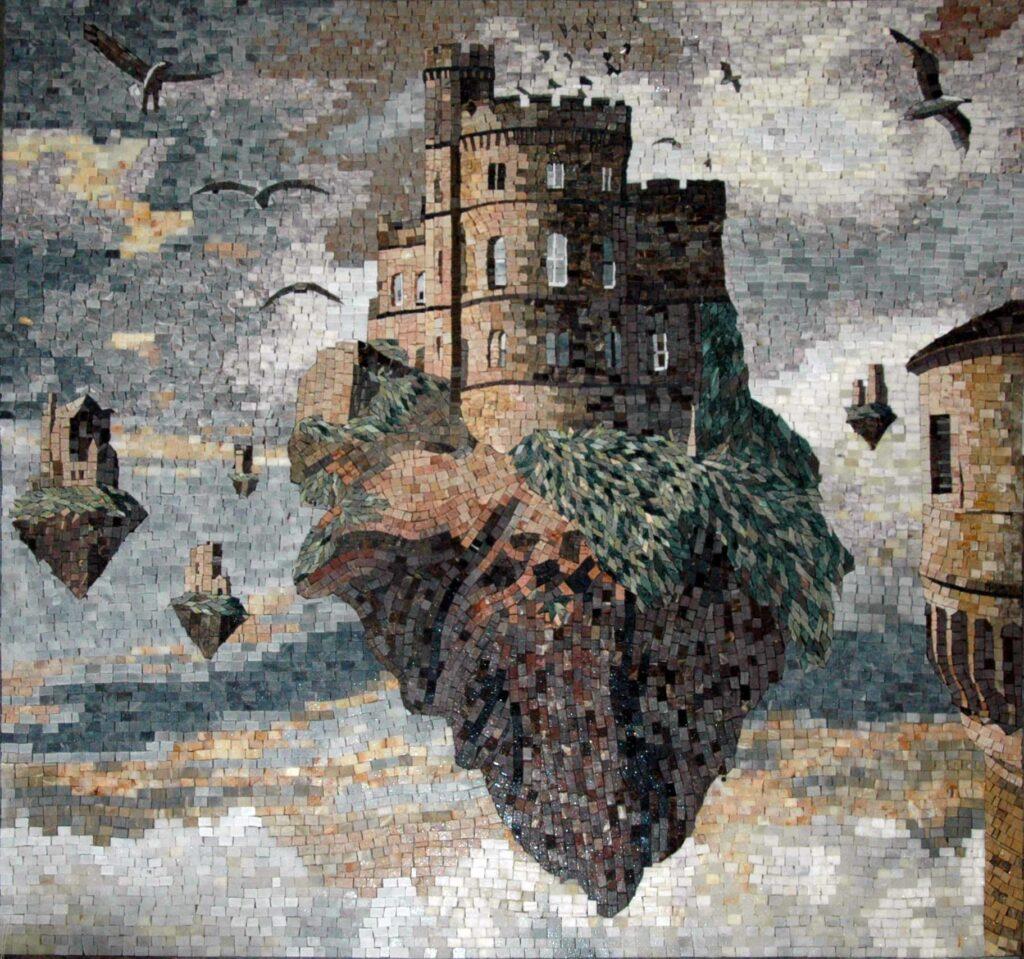 """Яцек Йерка, """"Замок на скале"""", репродукция в мозаичной технике"""